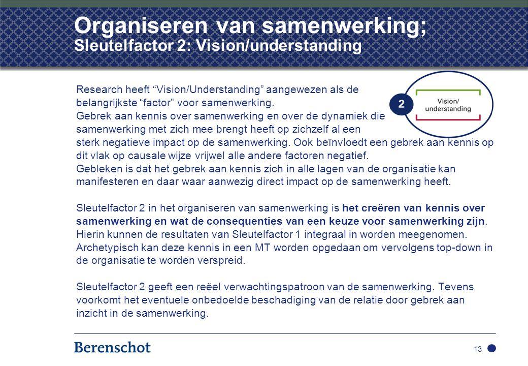 Organiseren van samenwerking; Sleutelfactor 2: Vision/understanding