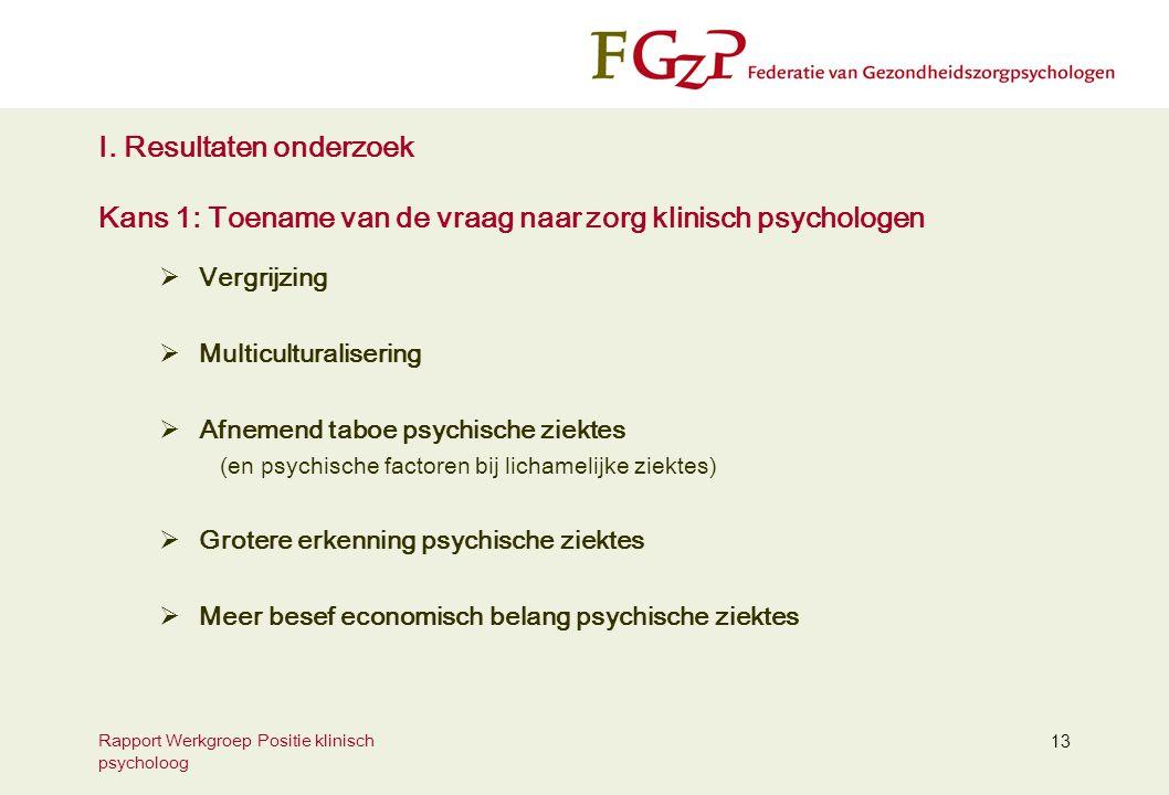 I. Resultaten onderzoek Kans 1: Toename van de vraag naar zorg klinisch psychologen