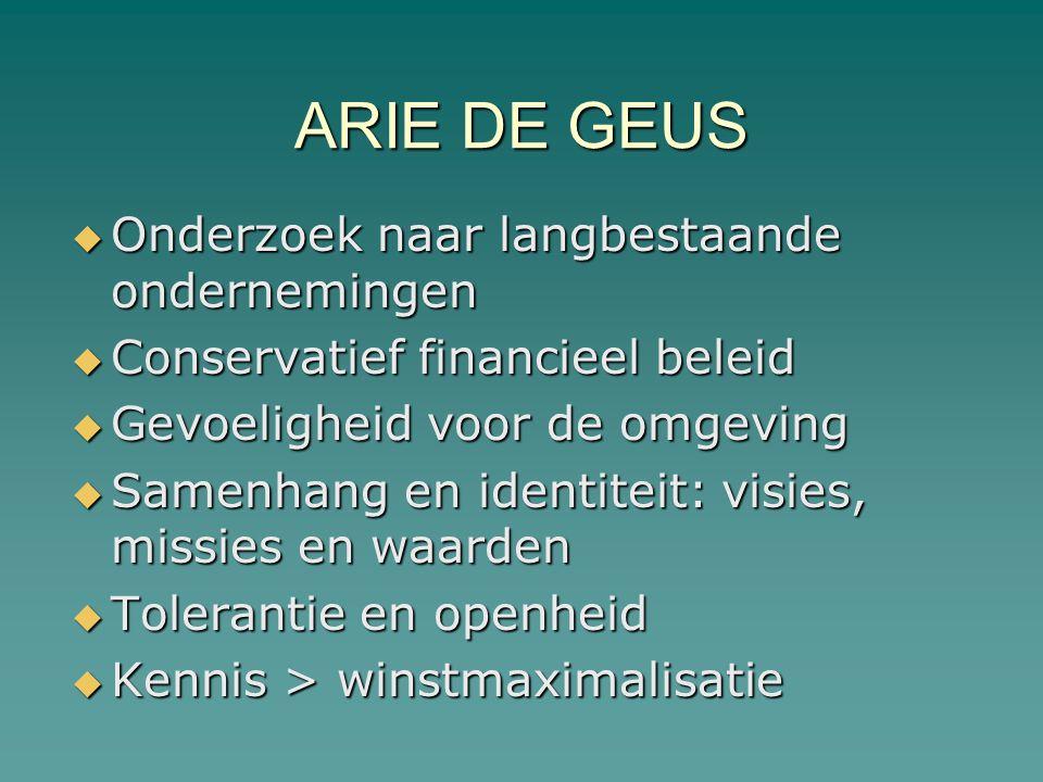 ARIE DE GEUS Onderzoek naar langbestaande ondernemingen