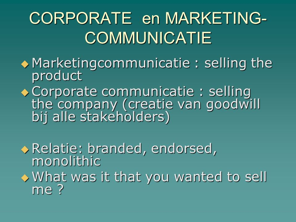 CORPORATE en MARKETING- COMMUNICATIE
