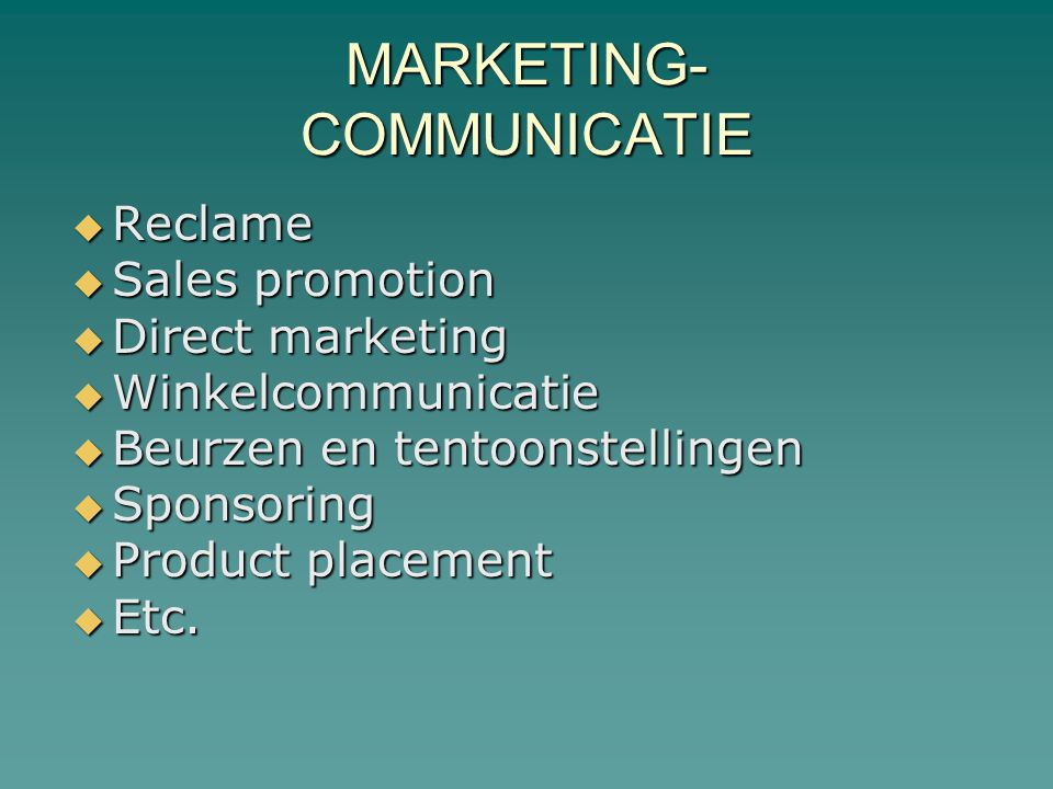 MARKETING- COMMUNICATIE