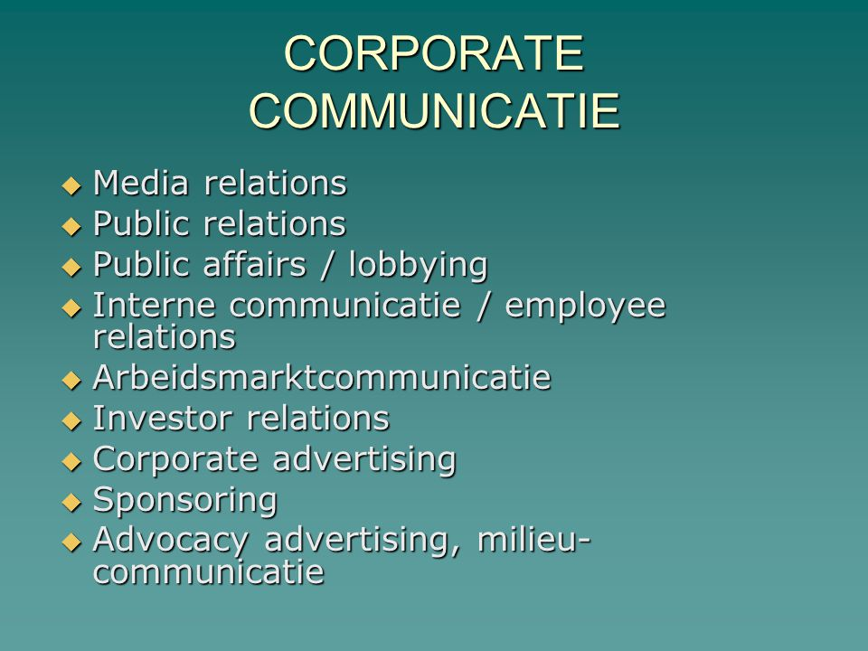 CORPORATE COMMUNICATIE