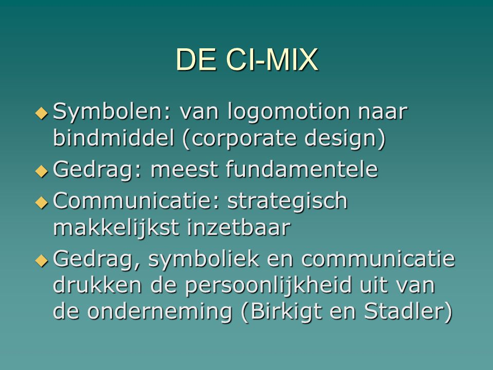 DE CI-MIX Symbolen: van logomotion naar bindmiddel (corporate design)