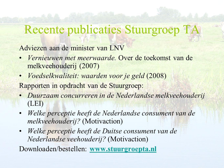 Recente publicaties Stuurgroep TA
