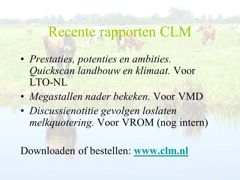 Recente rapporten CLM Prestaties, potenties en ambities. Quickscan landbouw en klimaat. Voor LTO-NL.