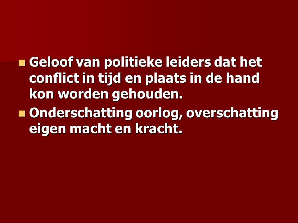 Geloof van politieke leiders dat het conflict in tijd en plaats in de hand kon worden gehouden.