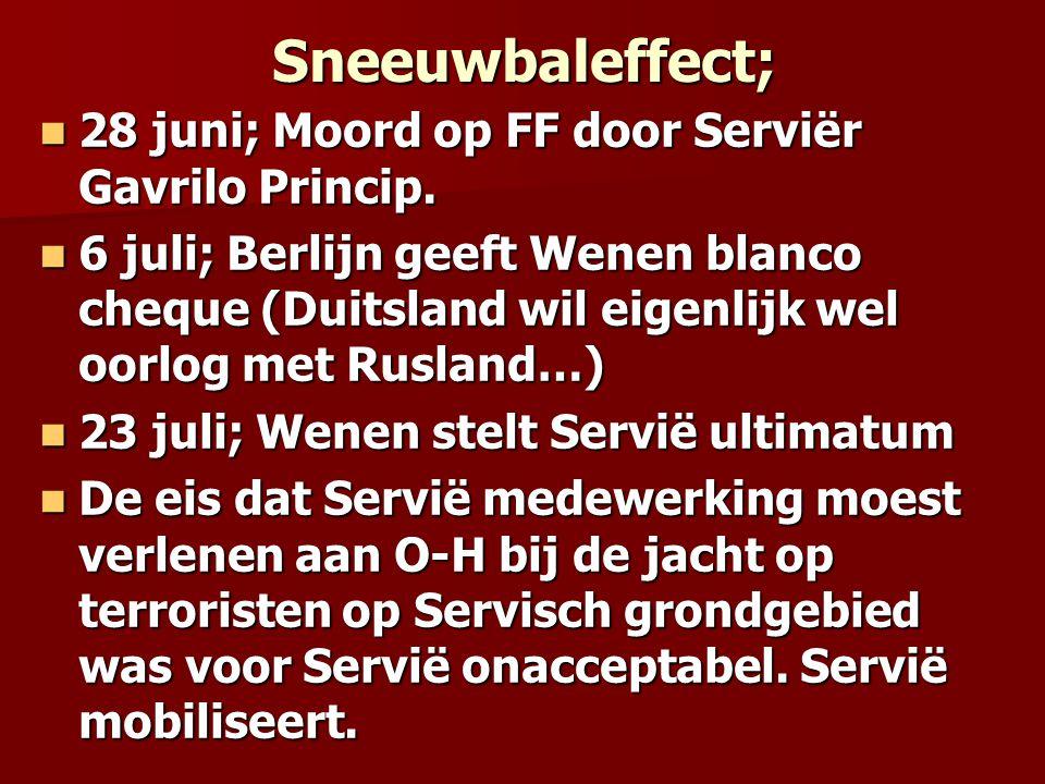 Sneeuwbaleffect; 28 juni; Moord op FF door Serviër Gavrilo Princip.