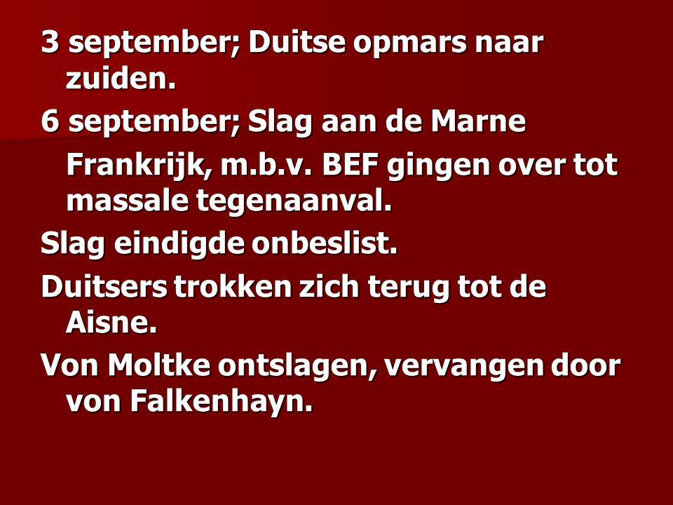3 september; Duitse opmars naar zuiden.