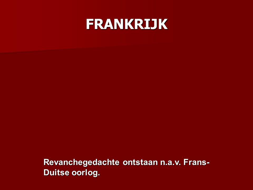 FRANKRIJK Revanchegedachte ontstaan n.a.v. Frans-Duitse oorlog.