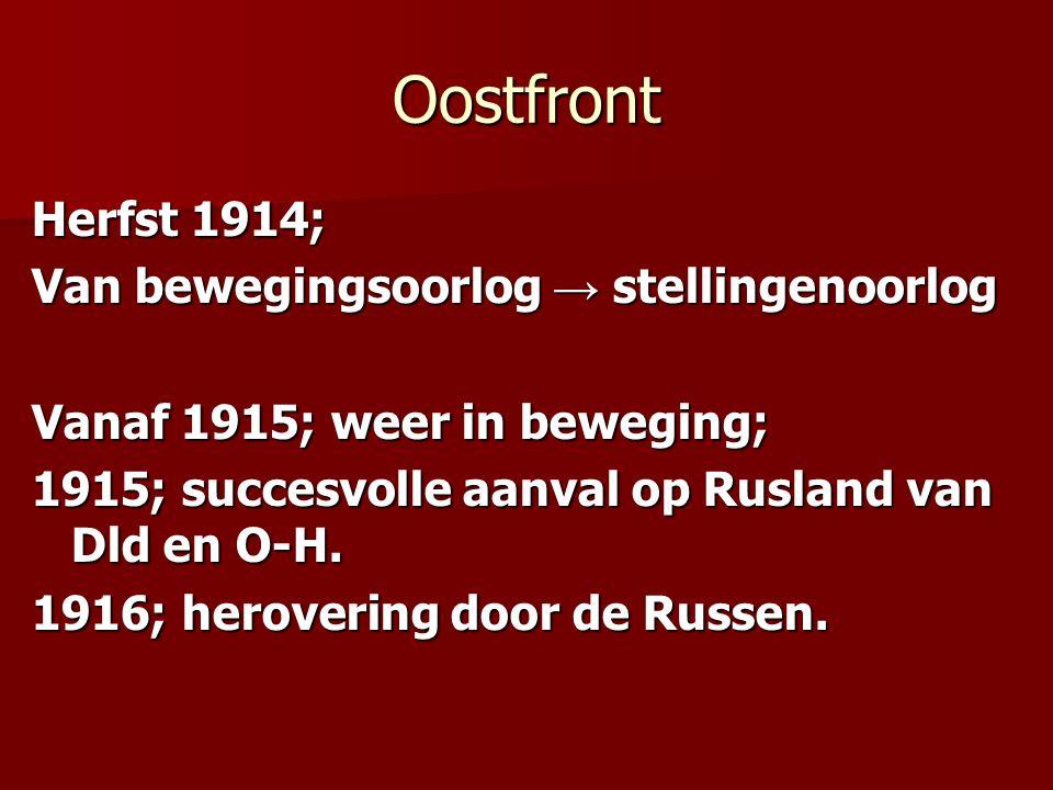 Oostfront Herfst 1914; Van bewegingsoorlog → stellingenoorlog