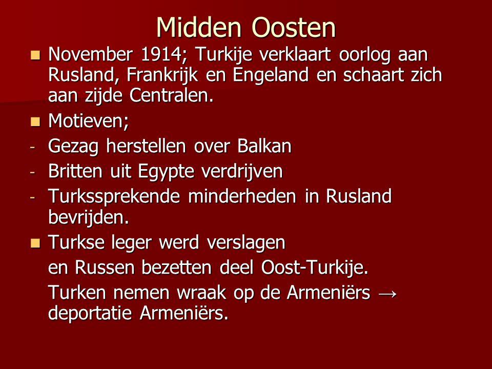 Midden Oosten November 1914; Turkije verklaart oorlog aan Rusland, Frankrijk en Engeland en schaart zich aan zijde Centralen.