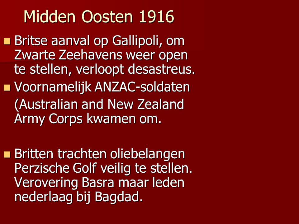 Midden Oosten 1916 Britse aanval op Gallipoli, om Zwarte Zeehavens weer open te stellen, verloopt desastreus.