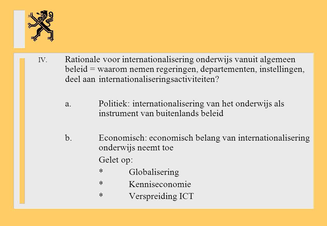 Rationale voor internationalisering onderwijs vanuit algemeen beleid = waarom nemen regeringen, departementen, instellingen, deel aan internationaliseringsactiviteiten