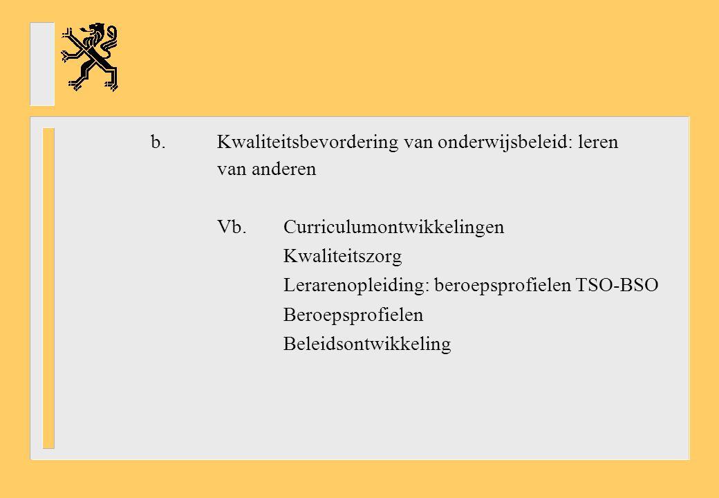 b. Kwaliteitsbevordering van onderwijsbeleid: leren van anderen