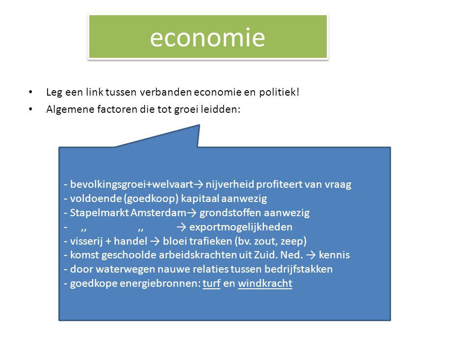 economie Leg een link tussen verbanden economie en politiek!