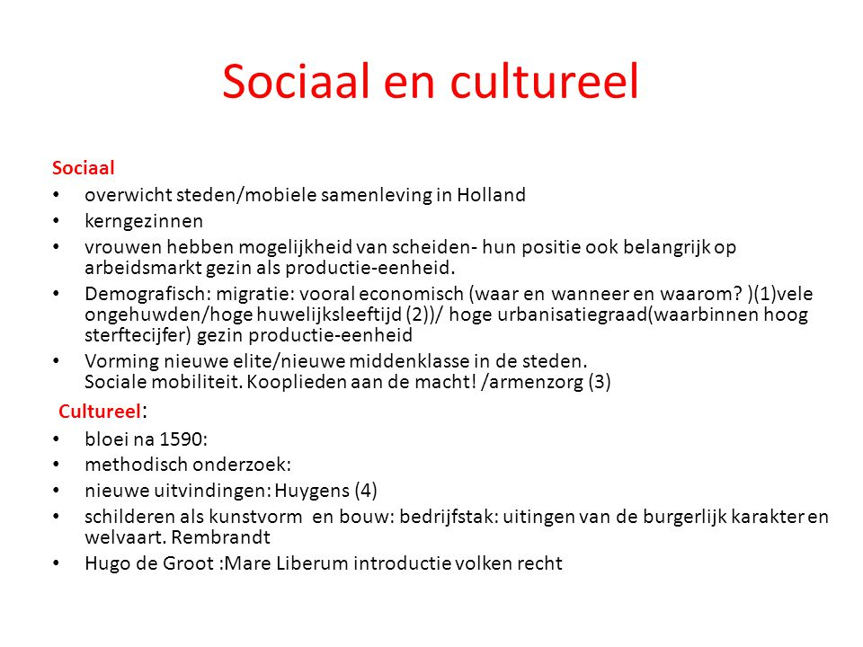Sociaal en cultureel Cultureel: Sociaal