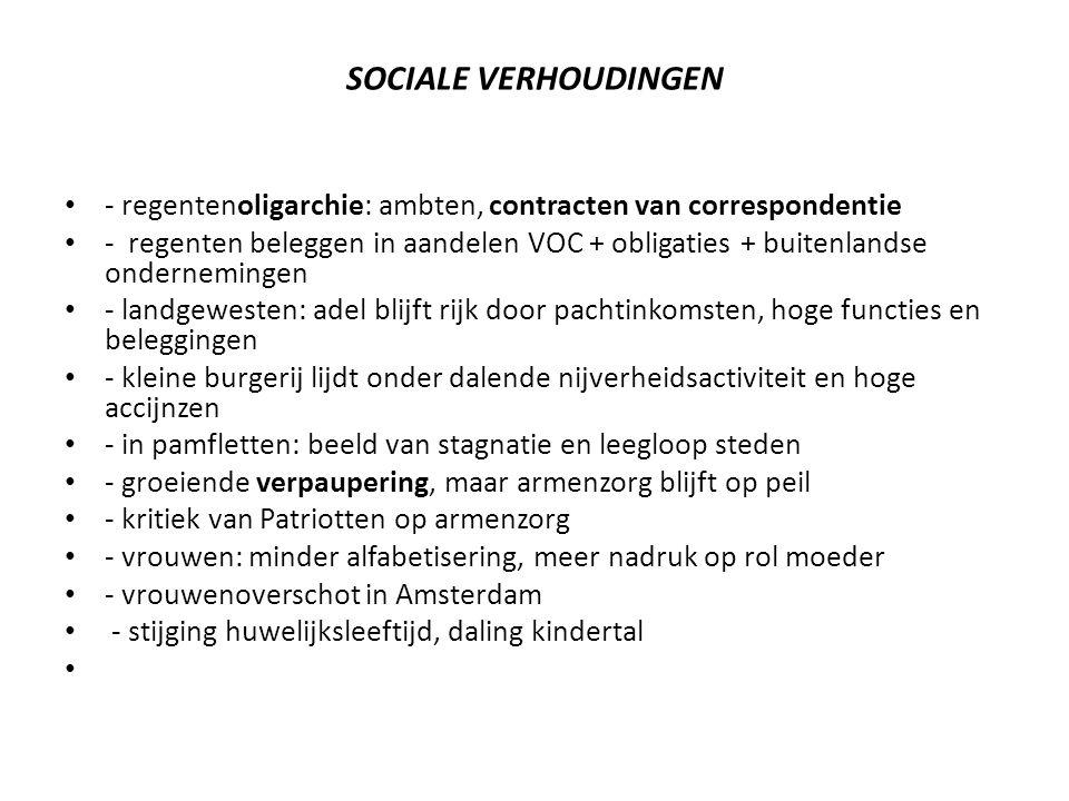 SOCIALE VERHOUDINGEN - regentenoligarchie: ambten, contracten van correspondentie.