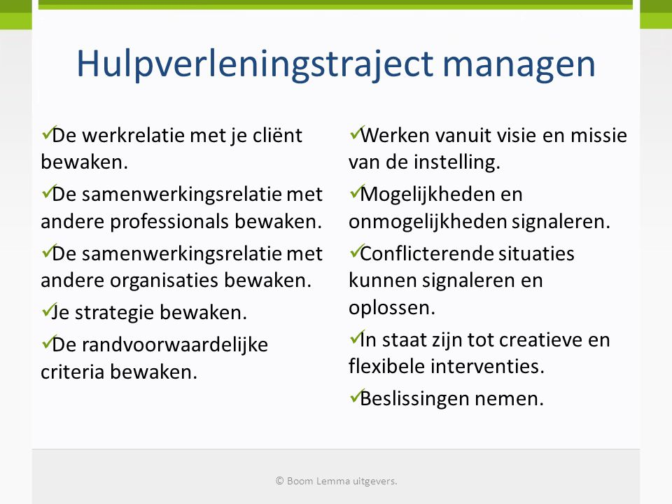 Hulpverleningstraject managen