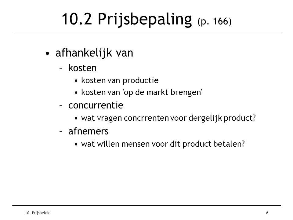 10.2 Prijsbepaling (p. 166) afhankelijk van kosten concurrentie