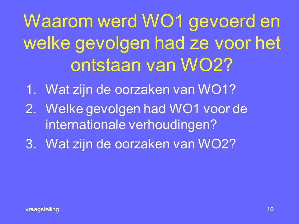 Waarom werd WO1 gevoerd en welke gevolgen had ze voor het ontstaan van WO2