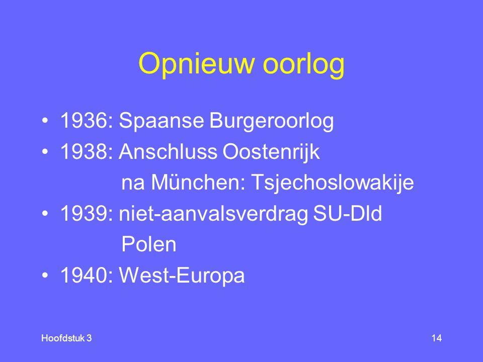 Opnieuw oorlog 1936: Spaanse Burgeroorlog 1938: Anschluss Oostenrijk