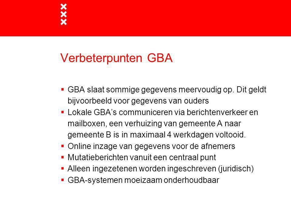 Verbeterpunten GBA GBA slaat sommige gegevens meervoudig op. Dit geldt bijvoorbeeld voor gegevens van ouders.