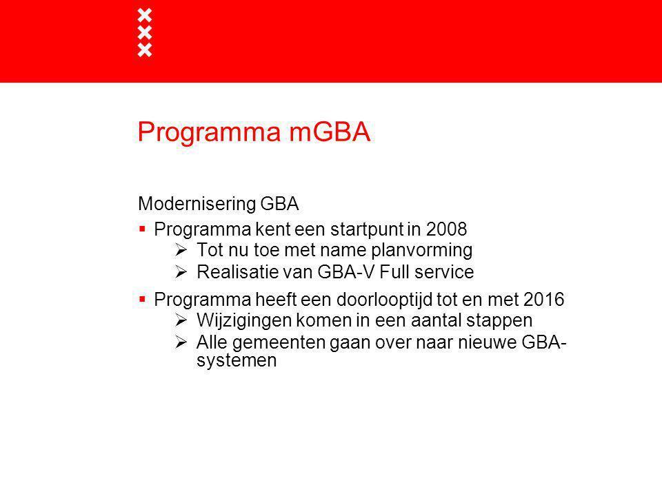 Programma mGBA Modernisering GBA Programma kent een startpunt in 2008