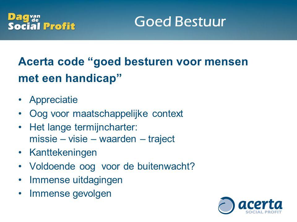 Goed Bestuur Acerta code goed besturen voor mensen met een handicap