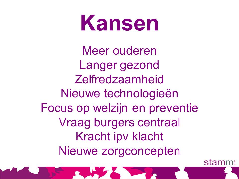 Kansen Meer ouderen Langer gezond Zelfredzaamheid Nieuwe technologieën