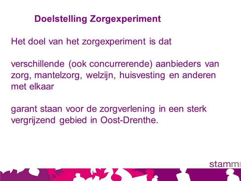 Doelstelling Zorgexperiment Het doel van het zorgexperiment is dat verschillende (ook concurrerende) aanbieders van zorg, mantelzorg, welzijn, huisvesting en anderen met elkaar garant staan voor de zorgverlening in een sterk vergrijzend gebied in Oost-Drenthe.