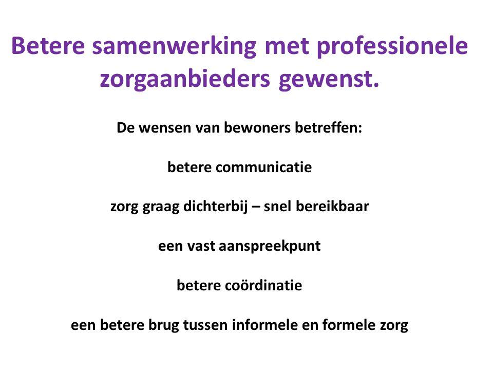 Betere samenwerking met professionele zorgaanbieders gewenst.