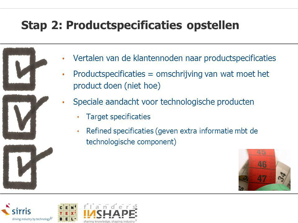 Stap 2: Productspecificaties opstellen