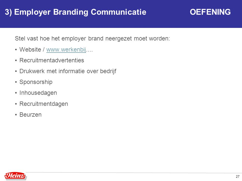 3) Employer Branding Communicatie OEFENING