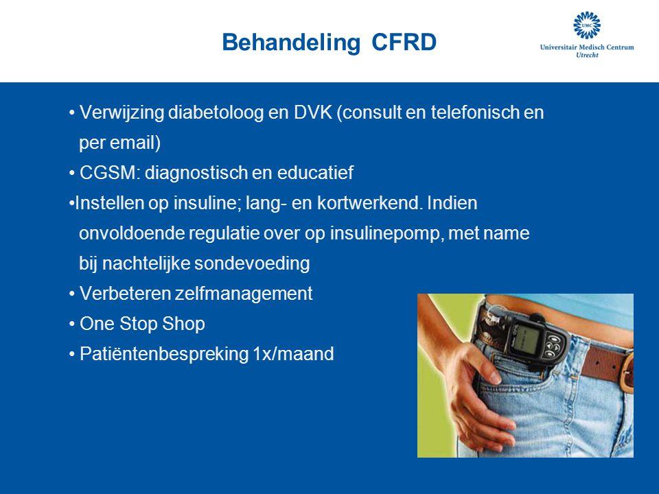 Behandeling CFRD Verwijzing diabetoloog en DVK (consult en telefonisch en. per email) CGSM: diagnostisch en educatief.