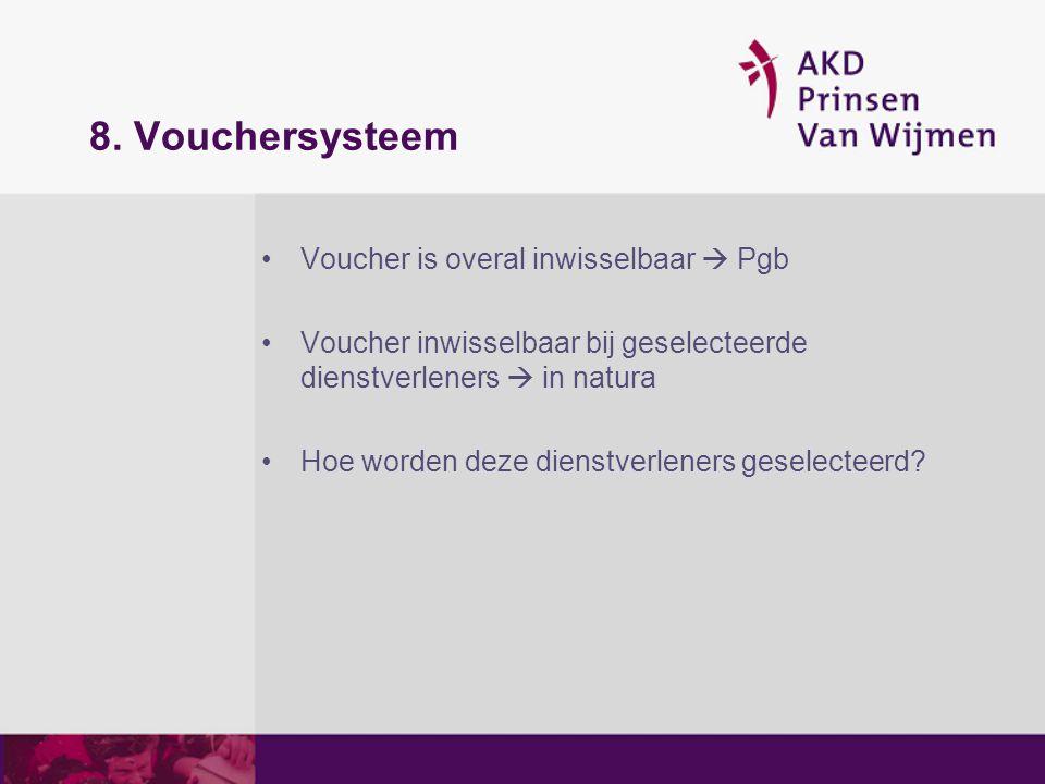 8. Vouchersysteem Voucher is overal inwisselbaar  Pgb