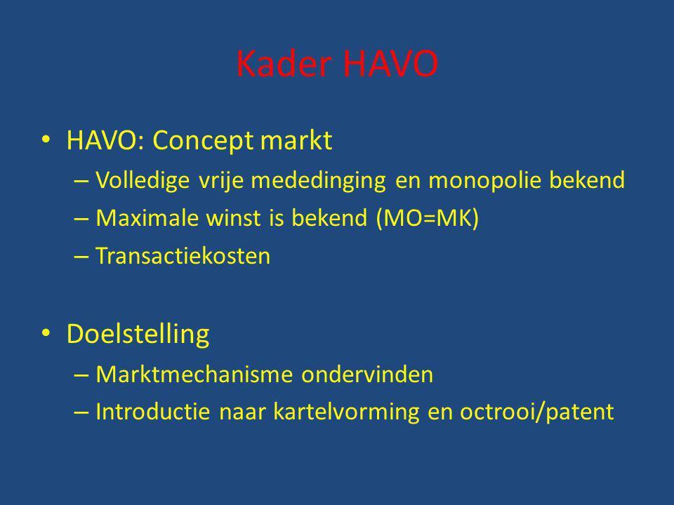 Kader HAVO HAVO: Concept markt Doelstelling