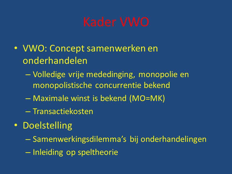 Kader VWO VWO: Concept samenwerken en onderhandelen Doelstelling