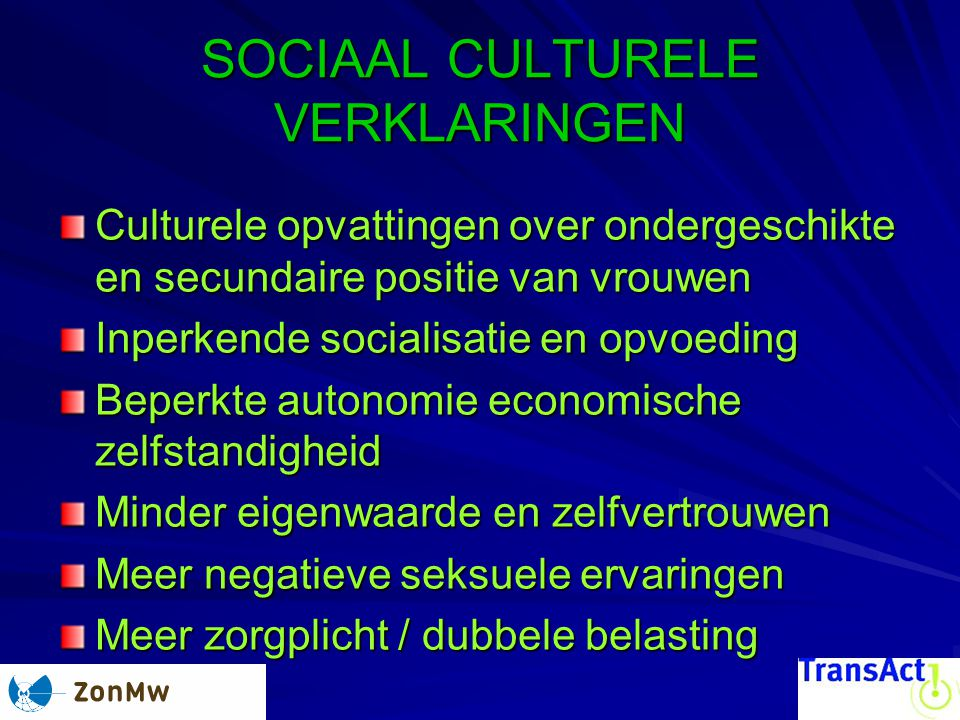 SOCIAAL CULTURELE VERKLARINGEN