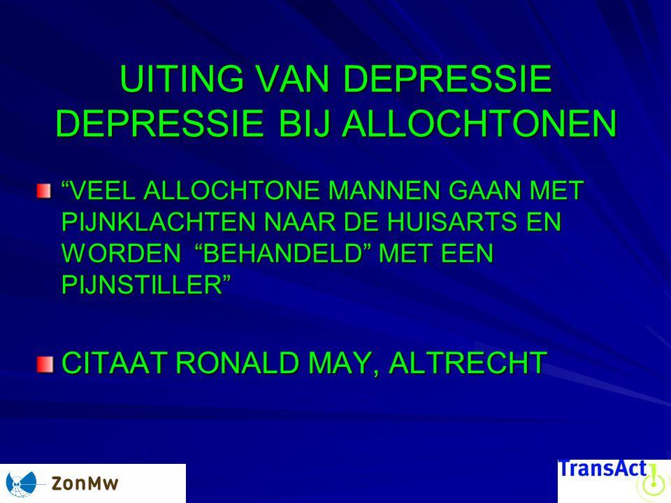 UITING VAN DEPRESSIE DEPRESSIE BIJ ALLOCHTONEN