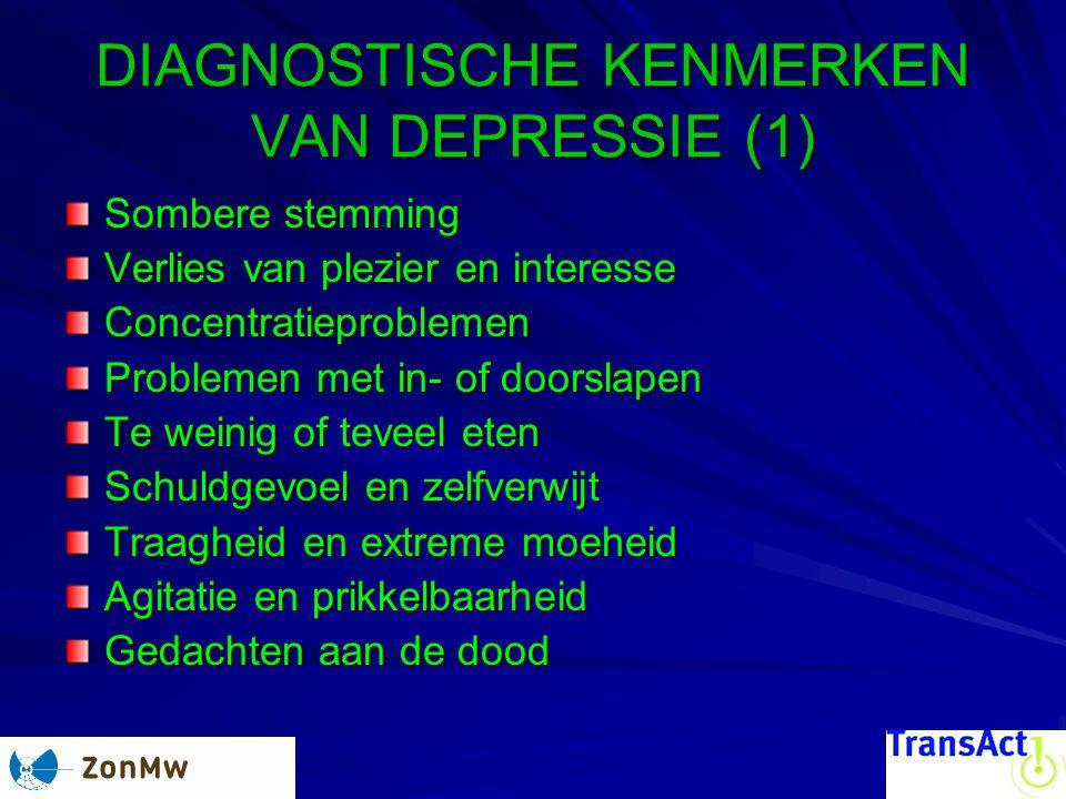 DIAGNOSTISCHE KENMERKEN VAN DEPRESSIE (1)