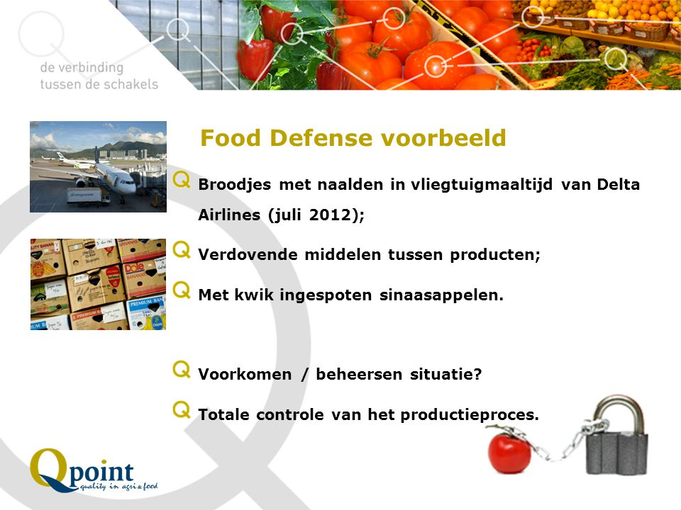 Food Defense voorbeeld