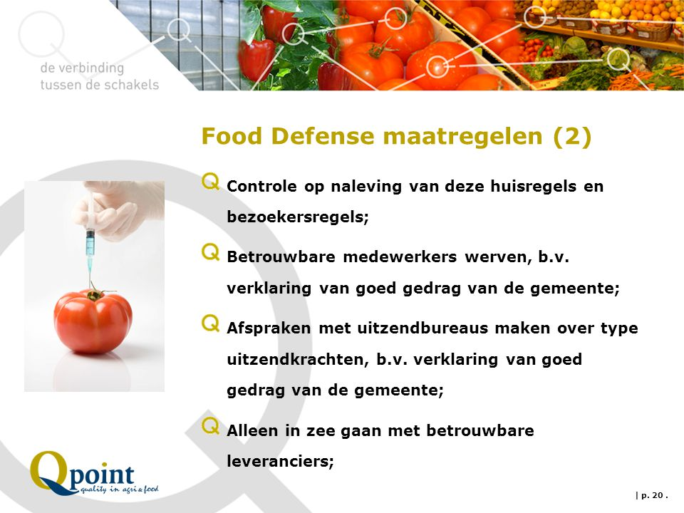 Food Defense maatregelen (2)