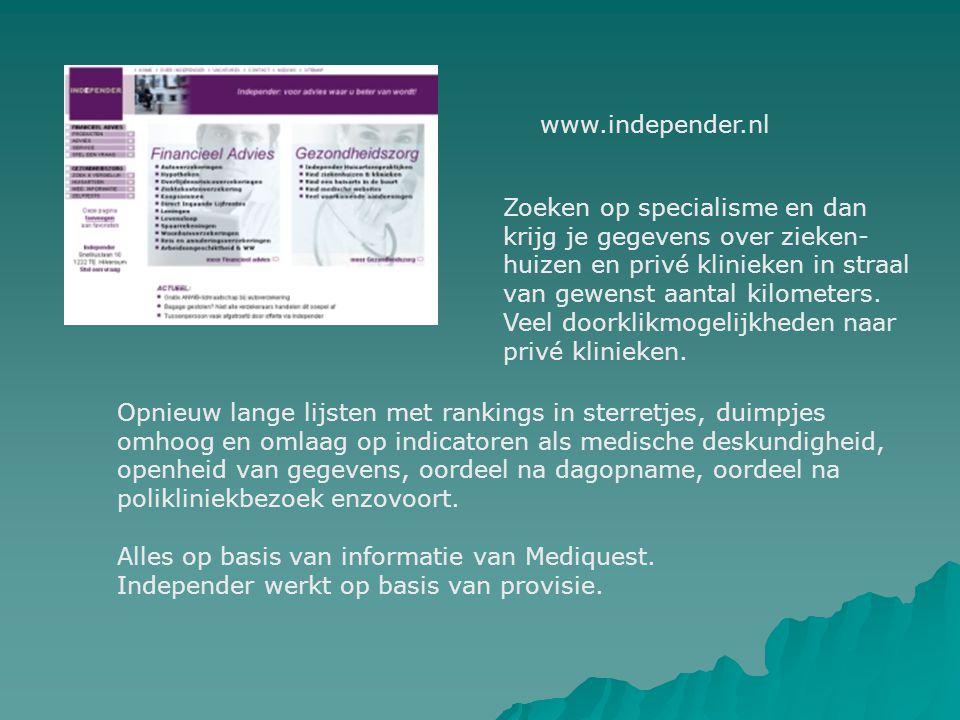 www.independer.nl Zoeken op specialisme en dan. krijg je gegevens over zieken- huizen en privé klinieken in straal.