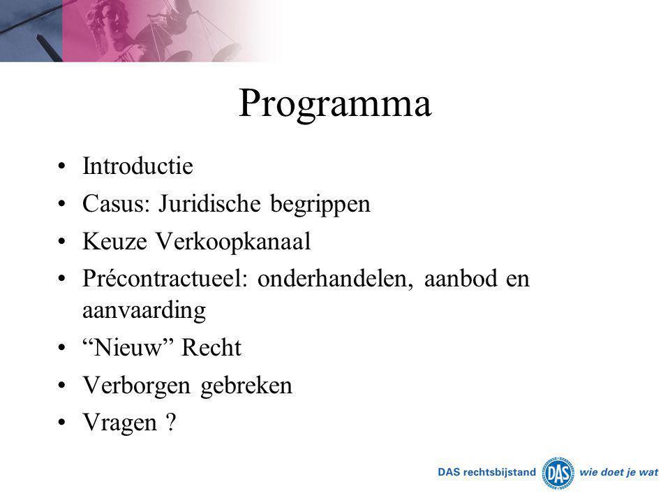 Programma Introductie Casus: Juridische begrippen Keuze Verkoopkanaal