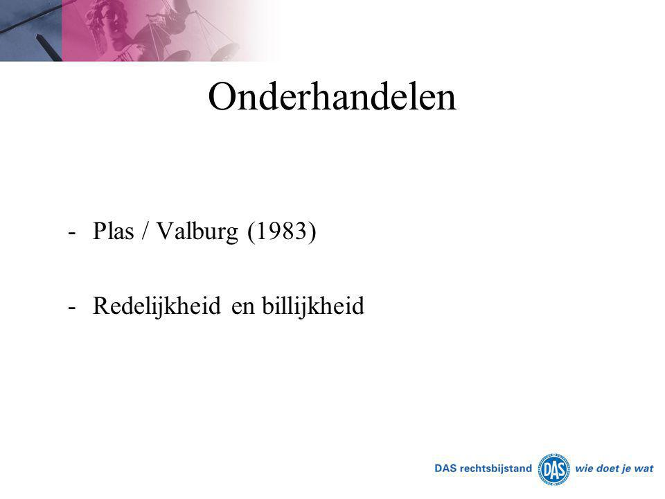 Onderhandelen Plas / Valburg (1983) Redelijkheid en billijkheid