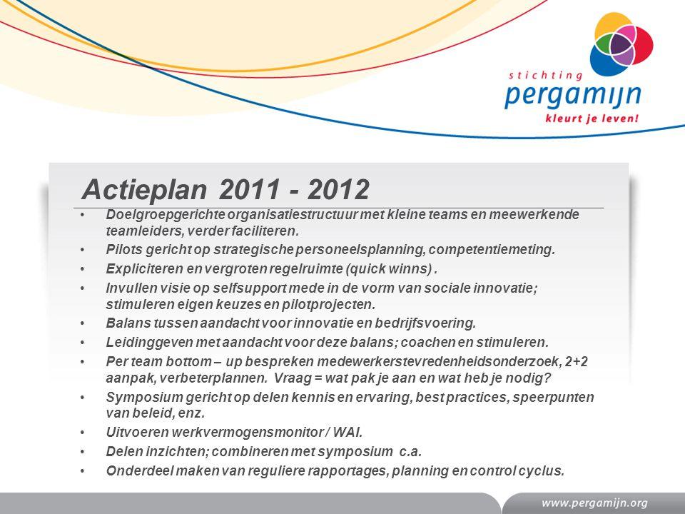 Actieplan 2011 - 2012 Doelgroepgerichte organisatiestructuur met kleine teams en meewerkende teamleiders, verder faciliteren.