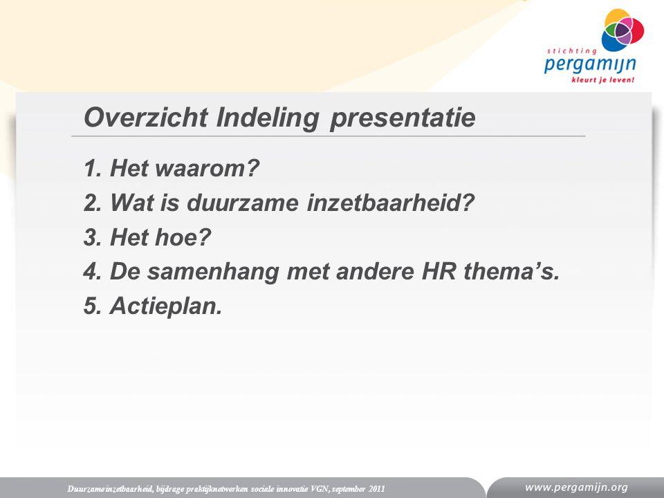 Overzicht Indeling presentatie