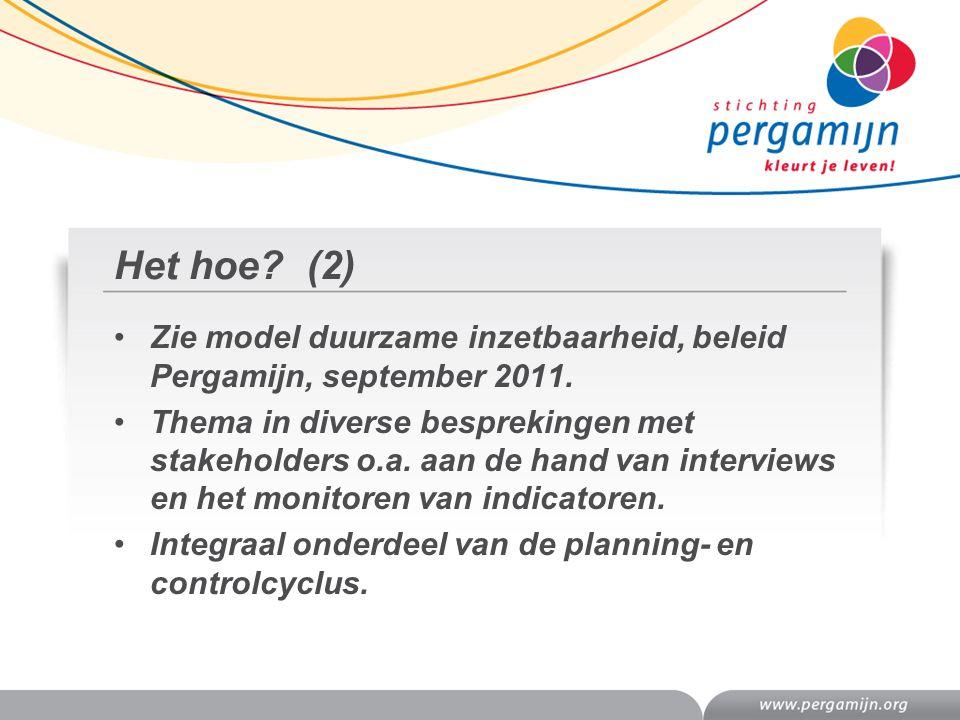 Het hoe (2) Zie model duurzame inzetbaarheid, beleid Pergamijn, september 2011.