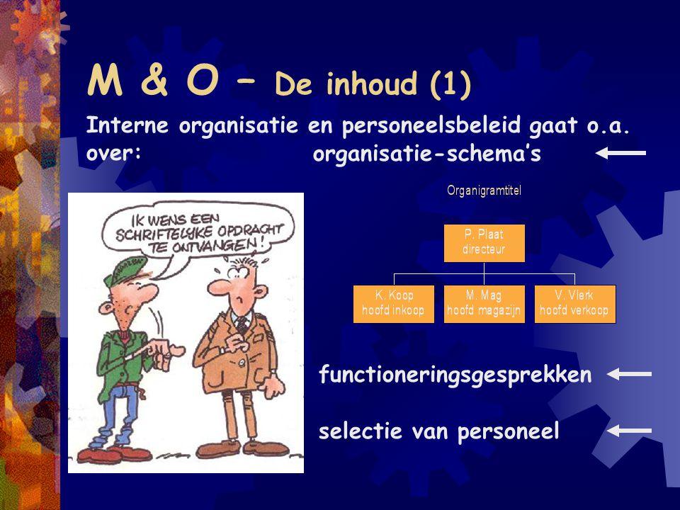 M & O – De inhoud (1) Interne organisatie en personeelsbeleid gaat o.a. over: organisatie-schema's.