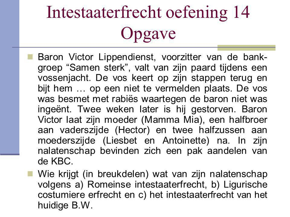 Intestaaterfrecht oefening 14 Opgave